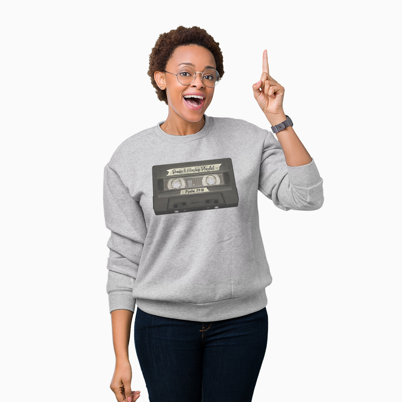Praise & Worship Playlist - Unisex CrewNeck Sweatshirt (Sports Grey) - Walk by Faith Apparel