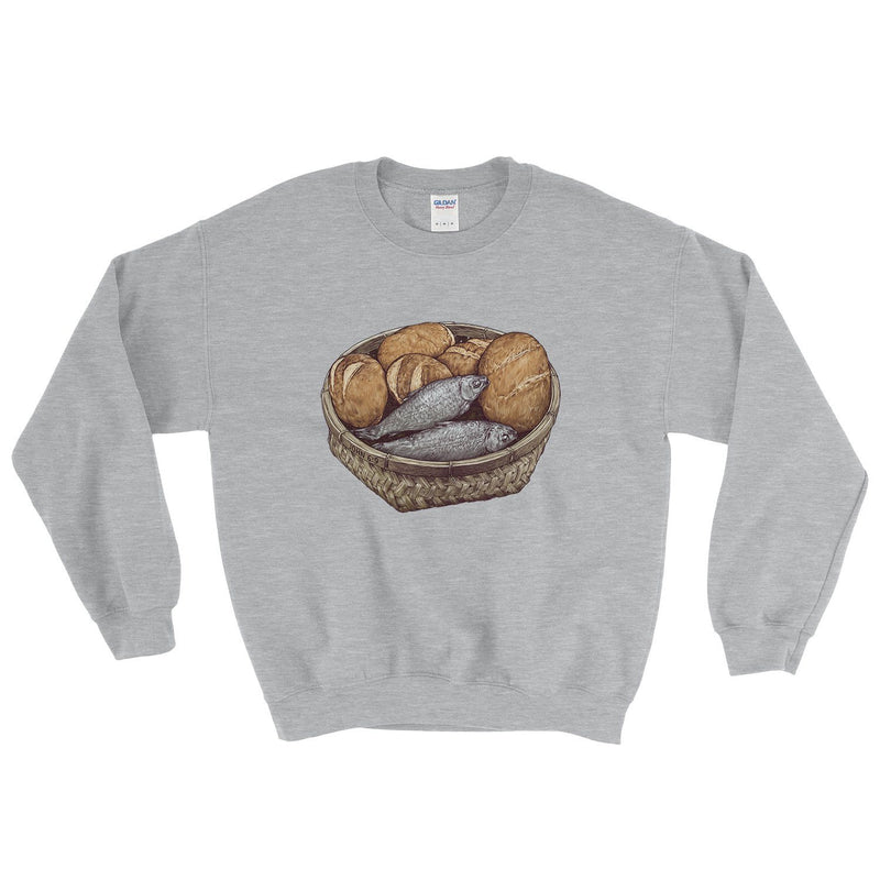 """5 Loaves & 2 Fish"" - Women's Crewneck - Walk by Faith Apparel"