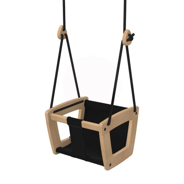 Baby & Toddler Swing in Oak with Fabric Seat in White, Black or Beige-LILLA GUNGA-BoNordic