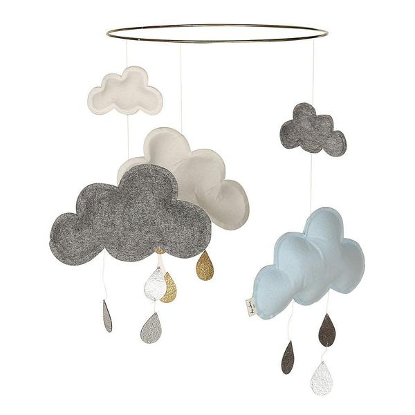 Konges Sloejd Cloud and Raindrops Mobile Blueberry - BONORDIC