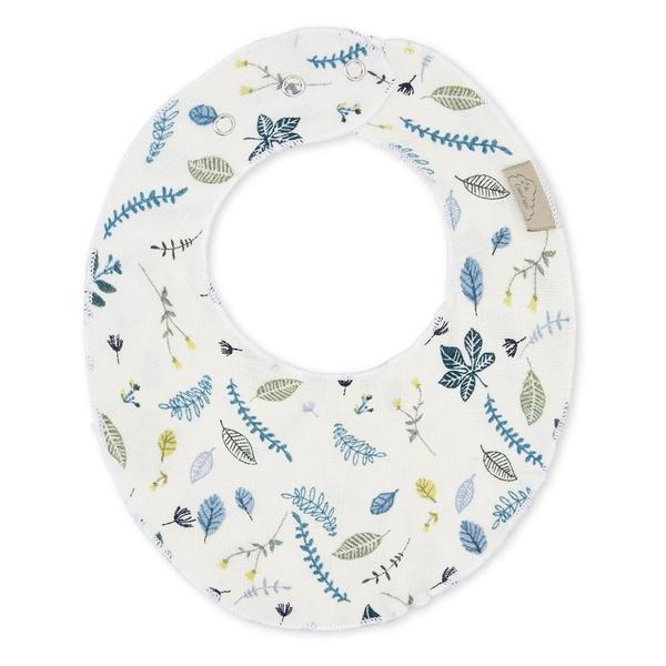 Cam Cam Baby Dribble Bib Organic Cotton - Pressed Leaves Blue - BoNordic