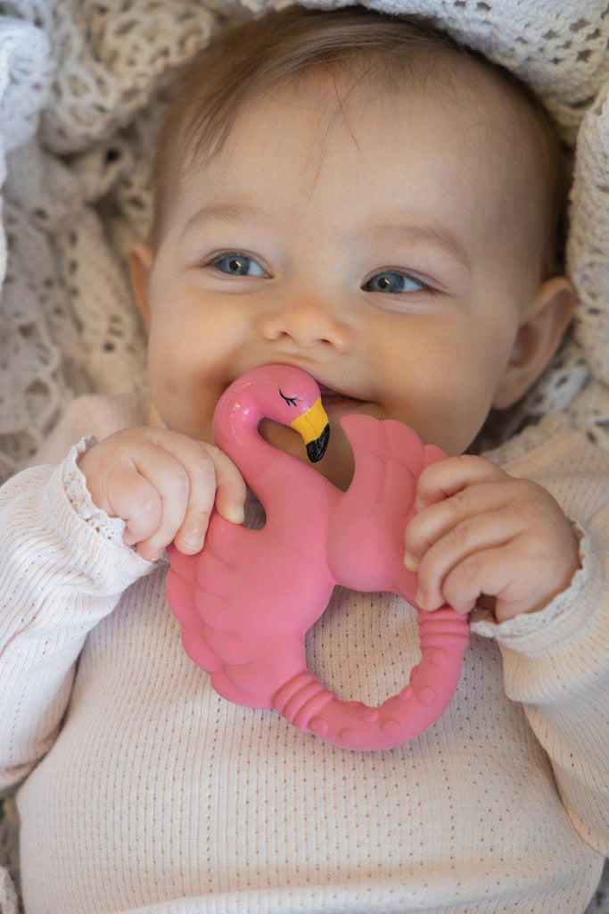 Flamingo Teether - Natural Rubber-Natruba-BoNordic