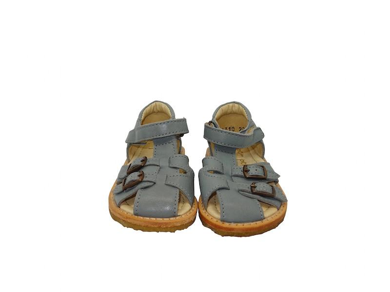 POMPOM KIDS LEATHER BUCKLE SANDALS IN OCEAN - BONORDIC