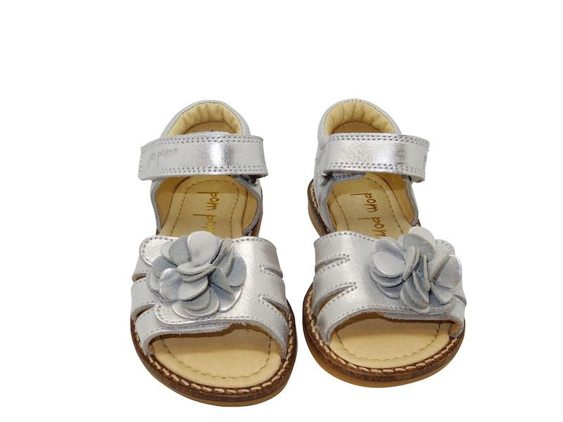 POMPOM KIDS LEATHER FLOWER SANDALS IN SILVER - BONORDIC