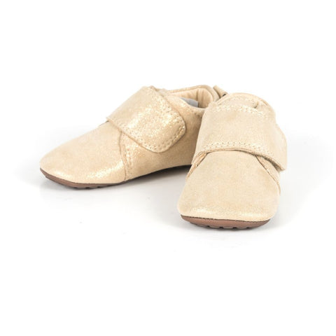 Leather Indoor Slippers / Shoes in Gold Dot