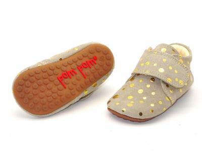 Baby and Kids Leather Indoor Slippers in Gold Dot by PomPom - BoNordic