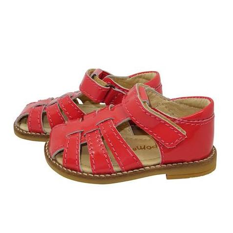 POMPOM KIDS LEATHER SANDALS CORAL PATENT - BONORDIC