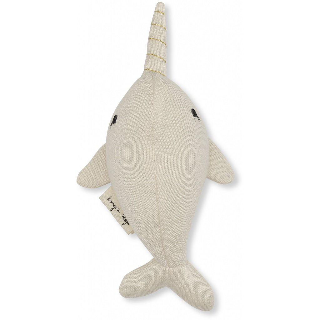 Konges Sloejd Mini Soft Toy Whale | Baby Rattle - BoNordic
