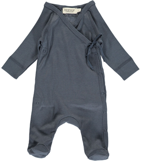 Rib Cross-Over Body In Grey Melange