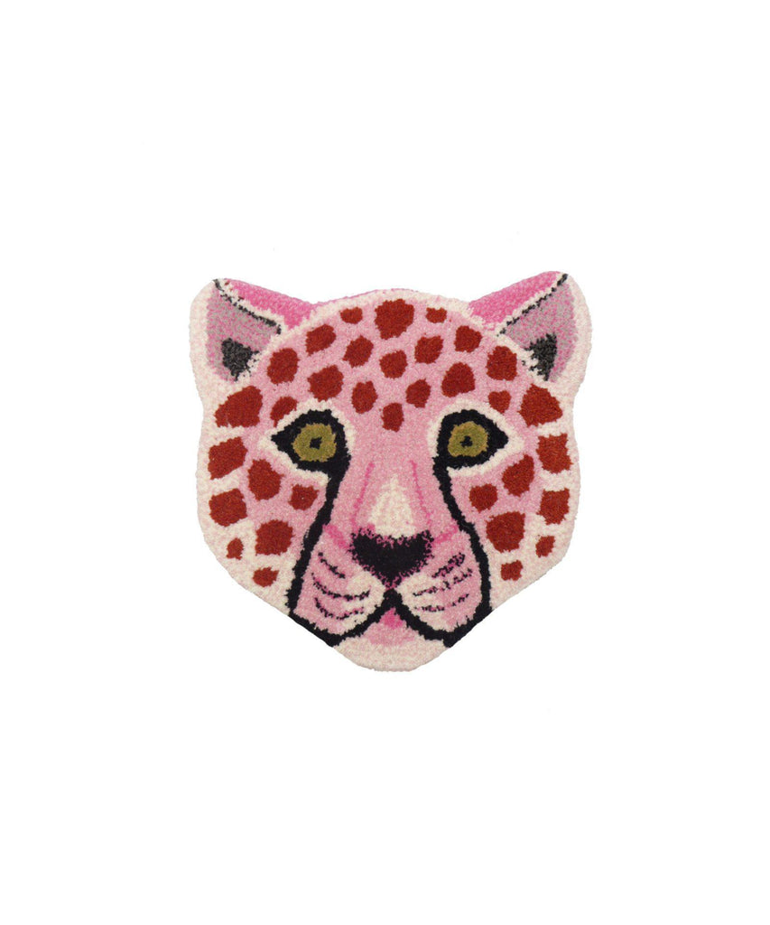 Pinky Leopard Head Rug in Wool-Doing Goods-BoNordic