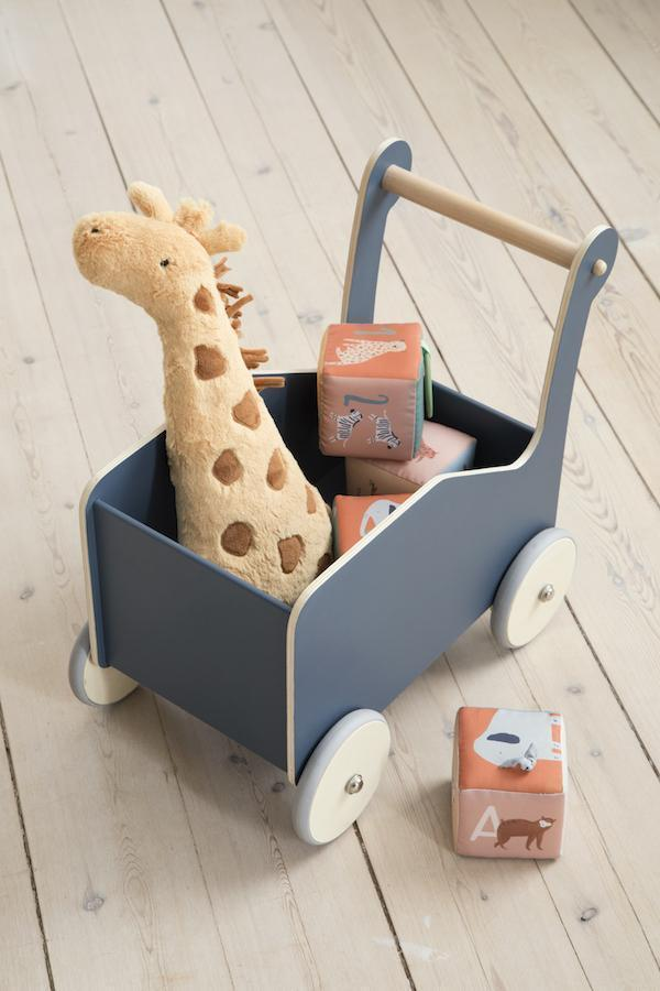 Sebra Wooden Baby Walker / Silent Wheels Kids Push Wagon