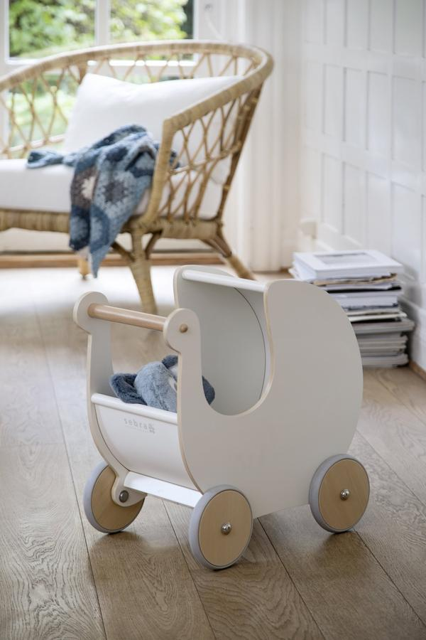 Sebra Wooden Toy Pram White - Scandinavian Design Toys