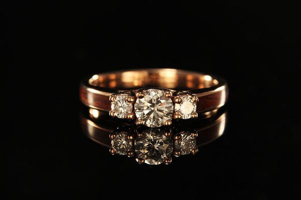 Women's Wooden Engagement Ring With 14K Rose Gold ...