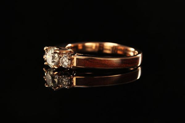 ... wooden engagement ring with 14k Rose Gold ...