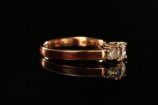 Women S Wooden Engagement Ring With 14k Rose Gold