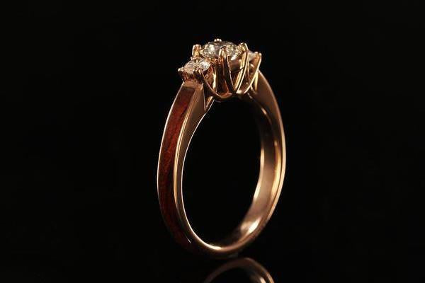 Womens Wooden Engagement Ring With 14K Rose Gold Chasing Victory