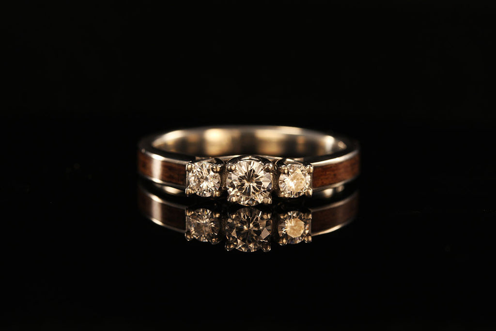 Jack Daniels Wood 3 Stone Engagement Ring Chasing Victory