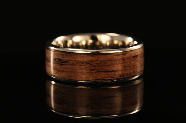 Wooden And Platinum Ring Whiskey Barrel Wood Ring Chasing Victory