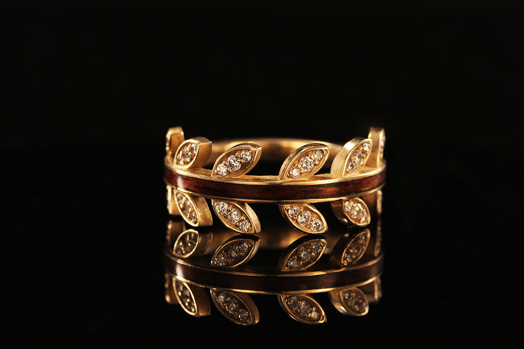 14K Solid Yellow Gold Leaf Ring