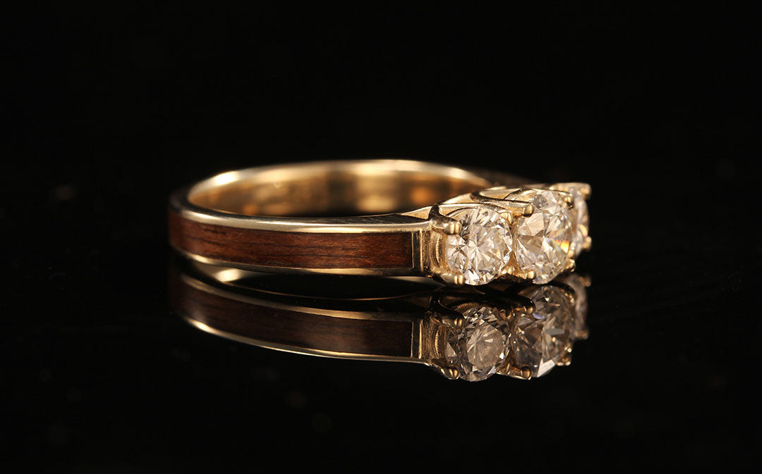 ... wooden engagement ring ...
