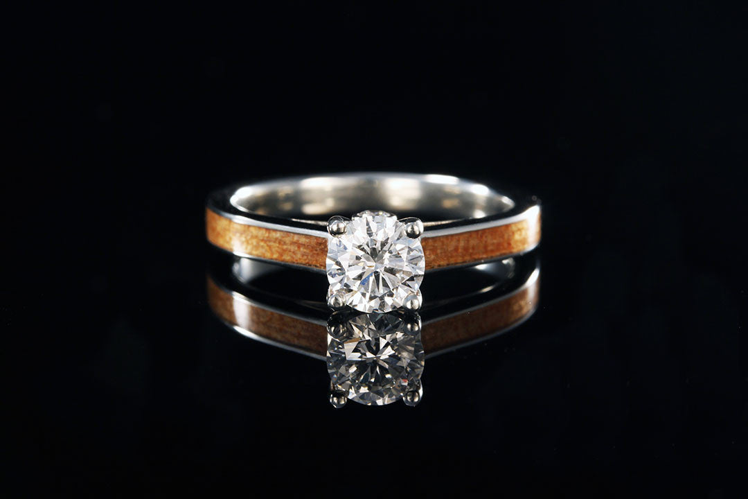 tiffany diamond wooden engagement ring - Wooden Wedding Rings