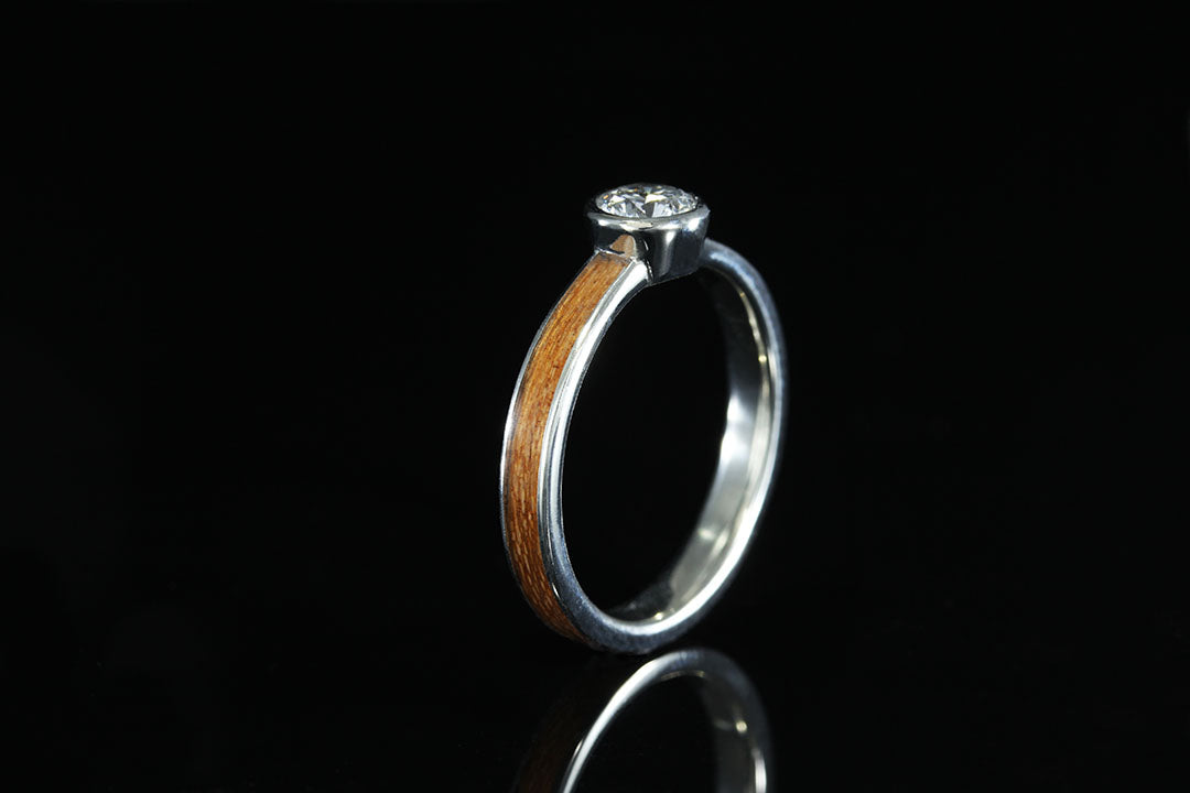 Wood Ring Collections Diamond Titanium And Gold Chasing