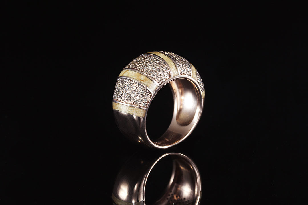 14K ROSE GOLD COCKTAIL RING WITH CHAMPAGNE DIAMONDS