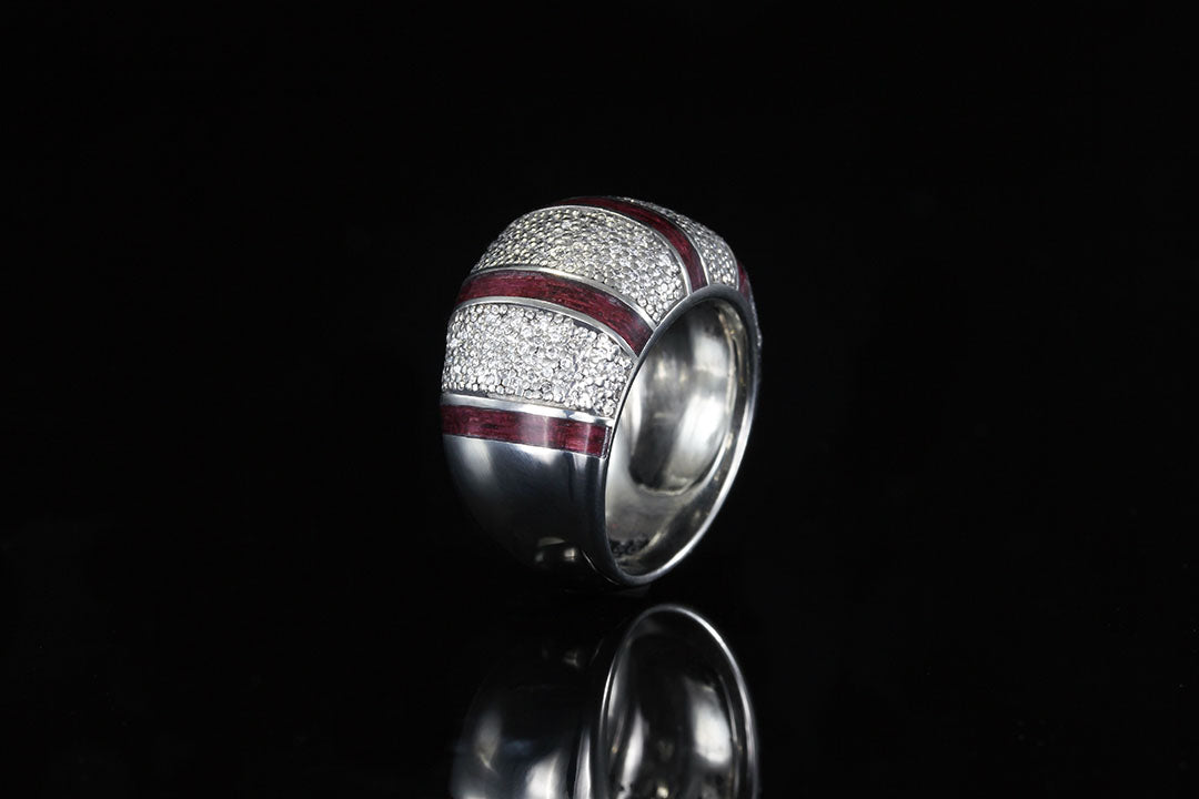 14K WHITE GOLD COCKTAIL DIAMOND RING WITH PURPLEHEART WOOD