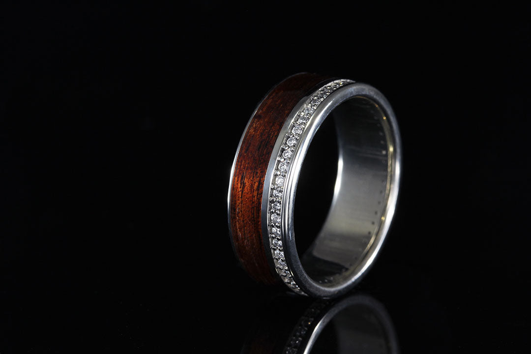 HAWAIIAN KOA WOOD INLAID IN 14K WHITE GOLD OFFSET WITH DIAMONDS