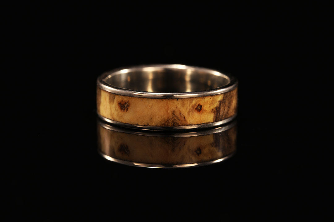 Wood ring for women 14K White Gold Wide Inlay Wooden Ring