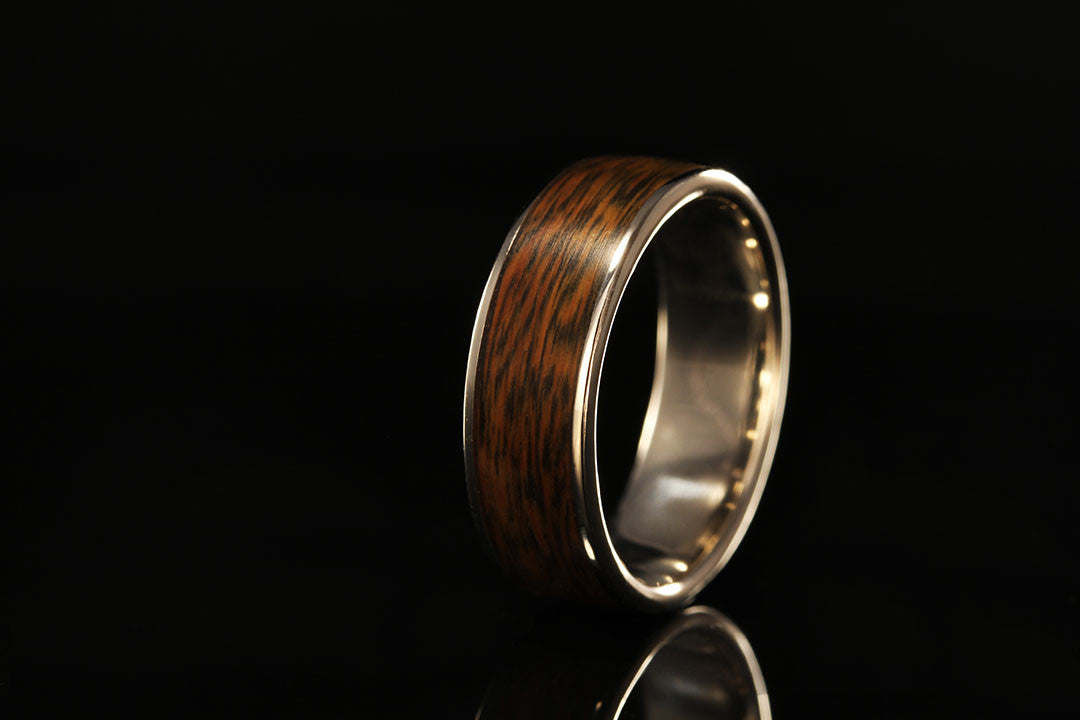 LIGNUM VITAE (IRON WOOD) PLATINUM WIDE INLAY RING
