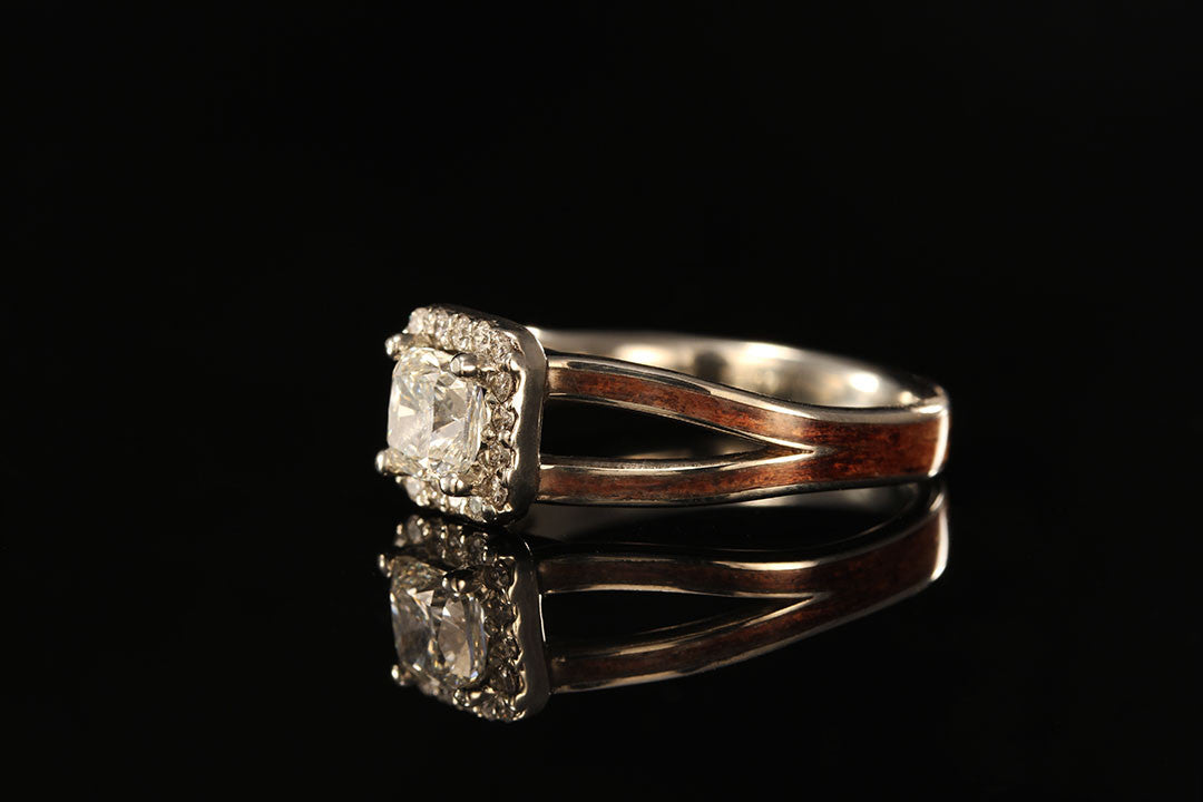 ... Women\'s diamond and wood engagement ring