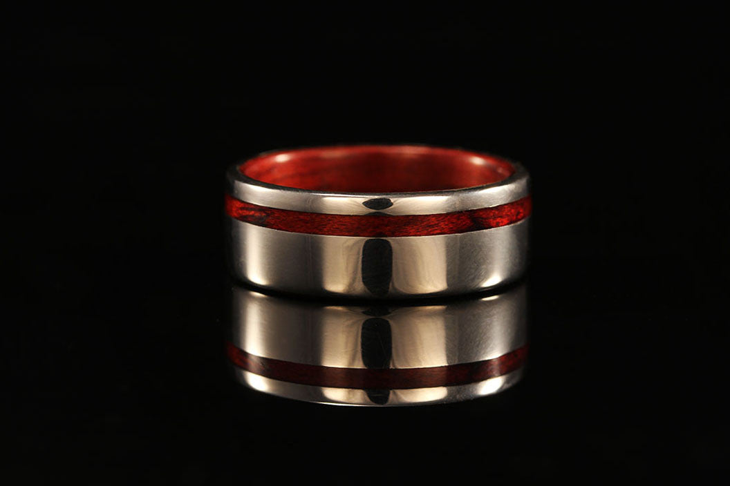 White Gold And Wood Ring Men S Wood Wedding Band Chasing Victory