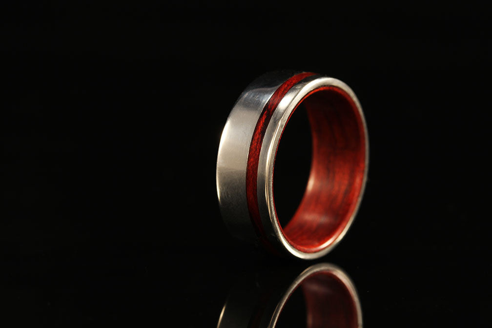 White Gold and Wood Ring Mens Wood Wedding Band Chasing Victory