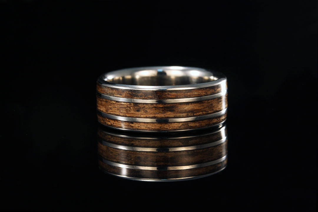 Titanium And Jack Daniels Whiskey Barrel Ring Chasing Victory