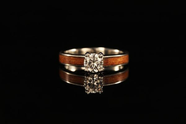 Women S Wood Ring 14k White Gold Diamond Tiffany Ring