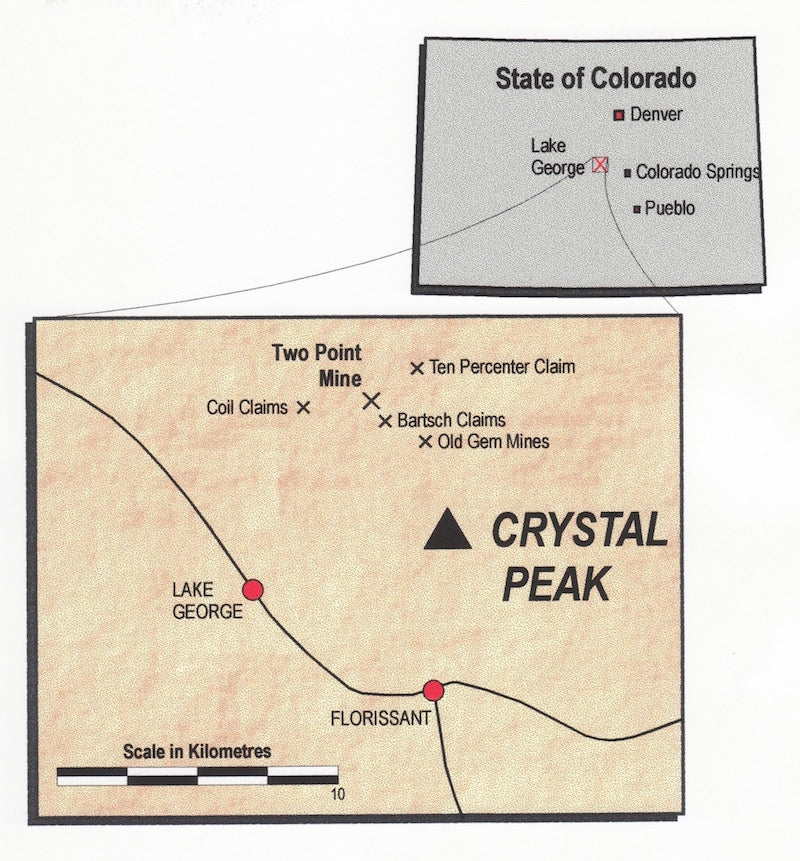 Crystal Colorado Map.Two Point Amazonite Mine Teller County Colorado The Collector S Edge