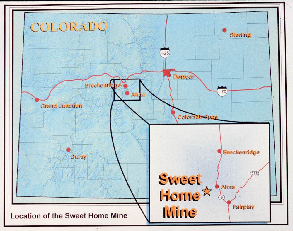 Map Of Colorado Showing Location Sweet Home Mine Inset Shows In Relation To Alma