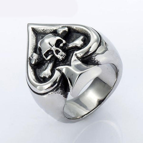Ace Of Spades Skull Ring - GiftsWizards