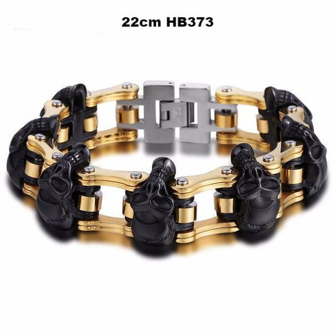 Bikers Chain Link & Skulls Bracelet - GiftsWizards