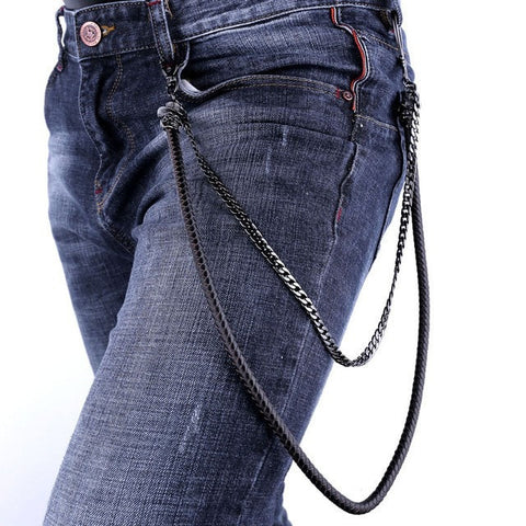 Skull Hut Leather & Steel Jean Chains