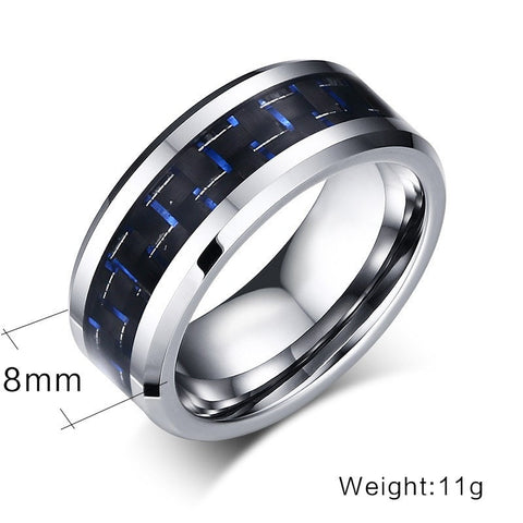 Silver & Carbon Tungsten Ring - GiftsWizards