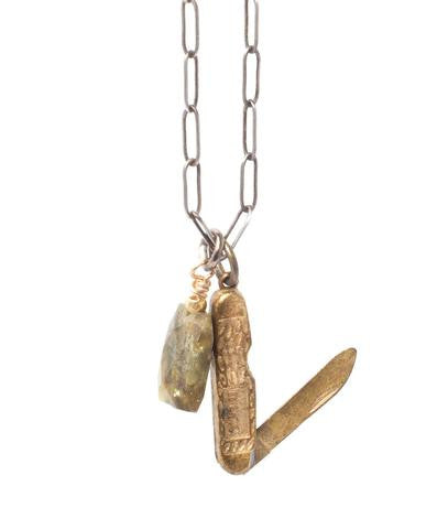 Pen Knife Brass Textured Necklace with Green Agate Stone
