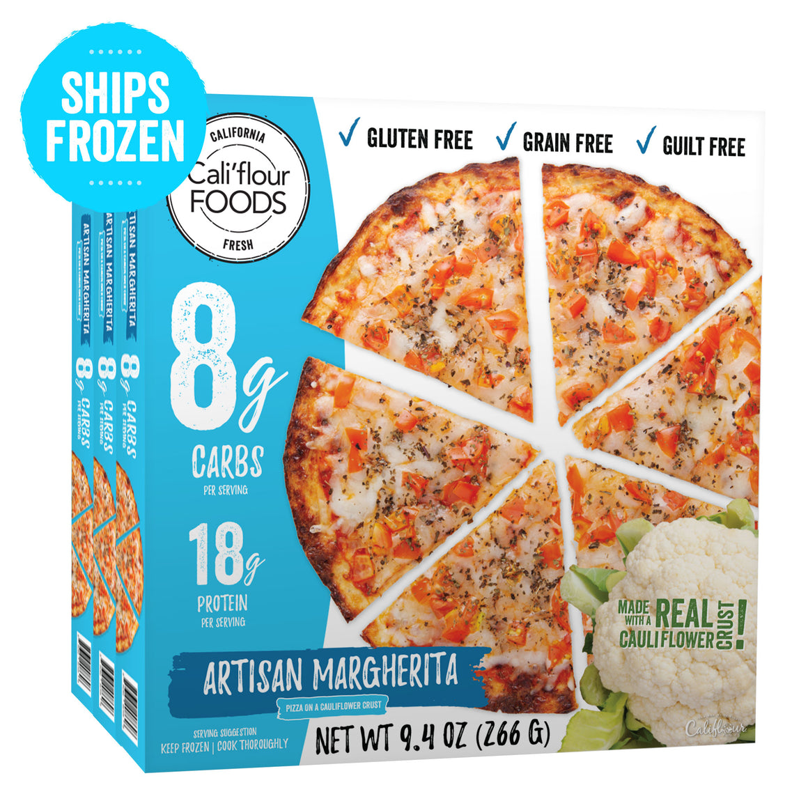 3 pack artisan margherita frozen pizza cauliflower crust