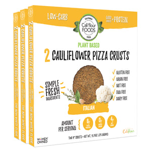 3 pack plant based italian cauliflower crusts, vegan paleo friendly