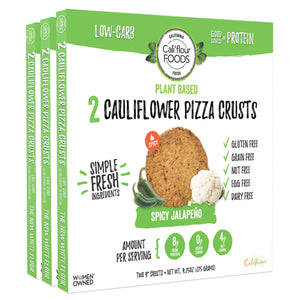 3 pack plant based jalapeño cauliflower pizza crusts, vegan and paleo friendly