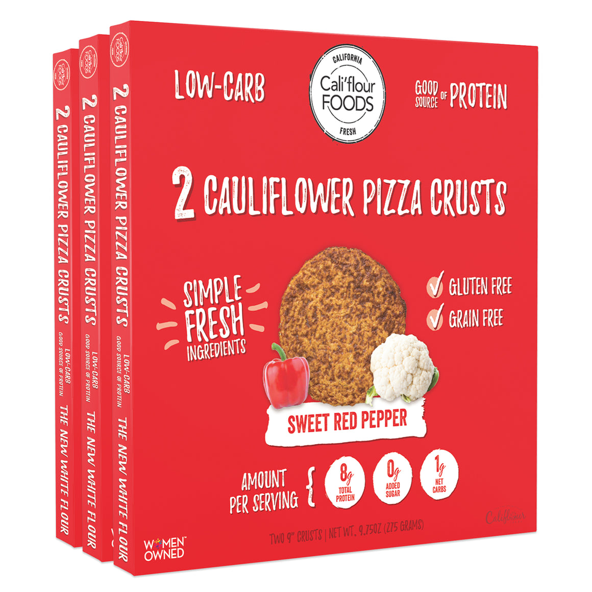 3 pack traditional sweet red pepper cauliflower pizza crusts