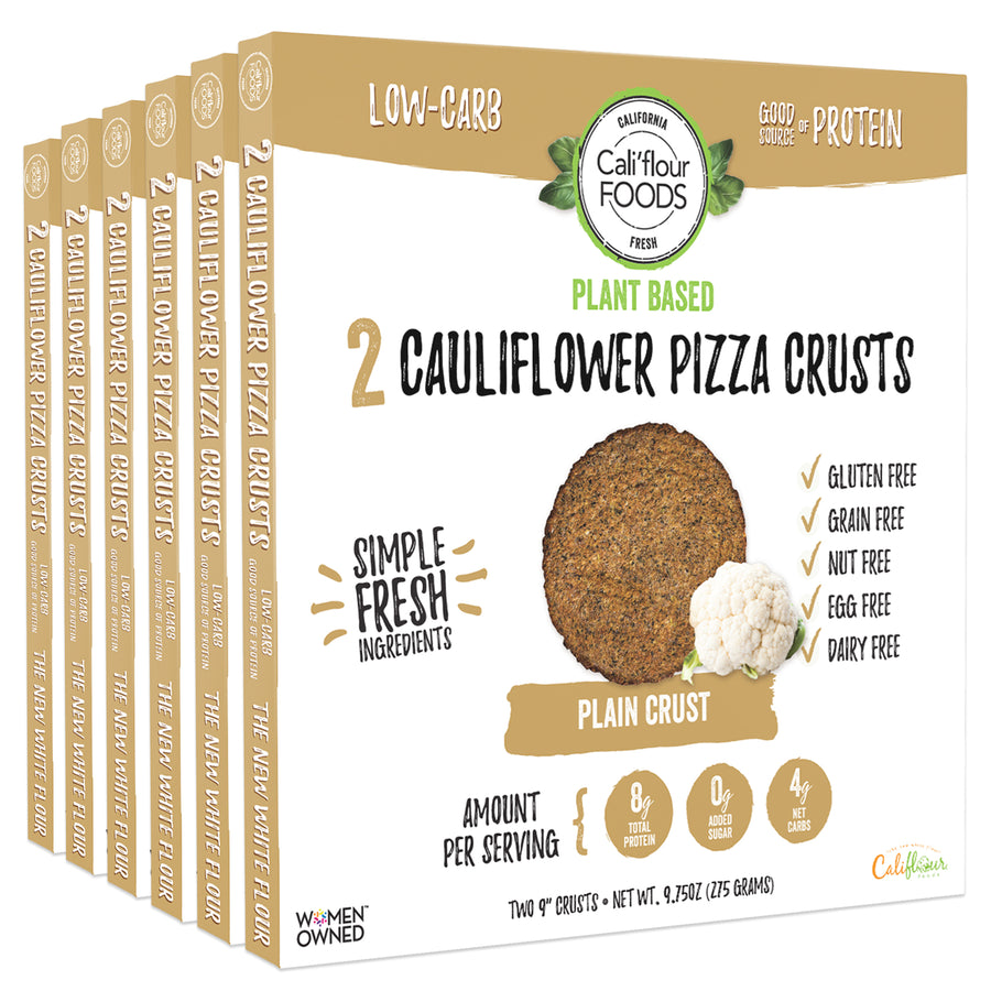 3 pack plant based plain cauliflower pizza crusts, vegan and paleo friendly