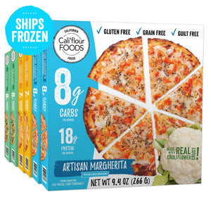 6 pack variety frozen cauliflower pizza