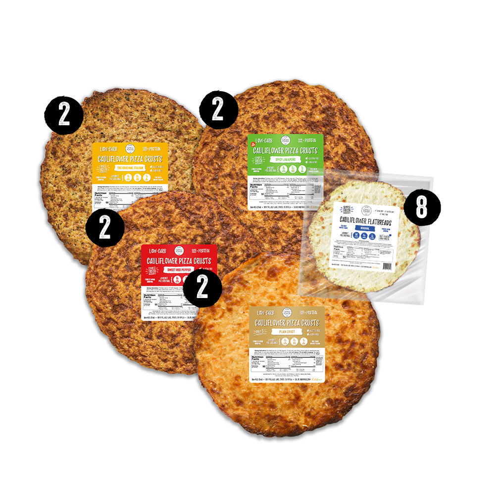 Keto Meal Kit Image with 4 flavors of traditional cauliflower pizza crusts and 8 single plain flatbreads